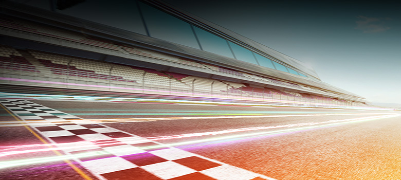 Race track as a symbolic image for the rapid introduction of Microsoft Dynamics 365 in companies