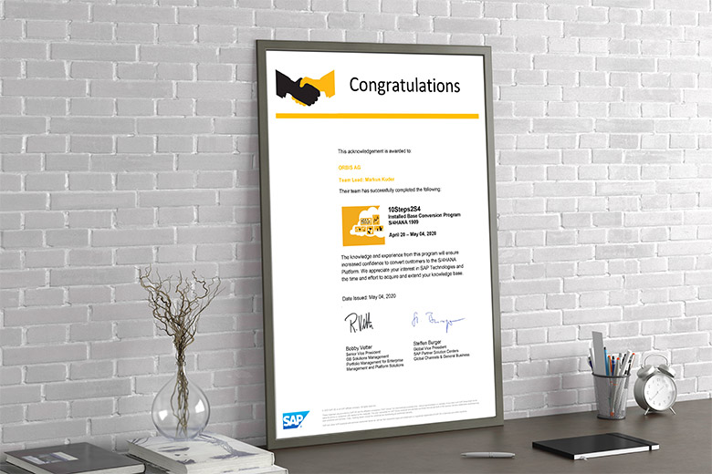 "ORBIS has successfully participated in the SAP program ""10Steps2S4""."